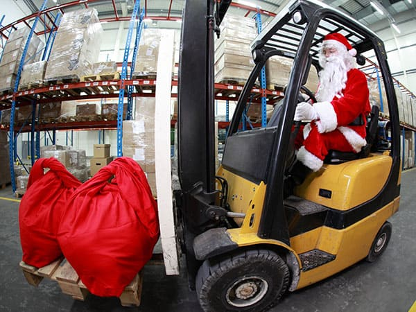 Santa on forklift truck